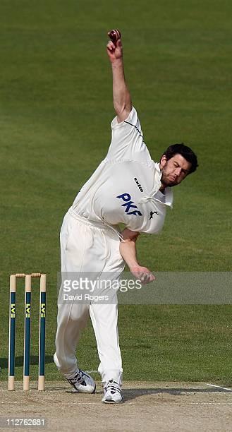 Charlie Shreck of Nottinghamshire bowls during the Aviva Premiership match between Gloucester and Northampton Saints at Kingsholm on April 19 2011 in...