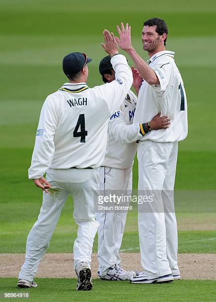 Charlie Shreck of Nottinghamshire celebrates after taking the wicket of Dale Benkenstein of Durham during the LV County Championship match between...