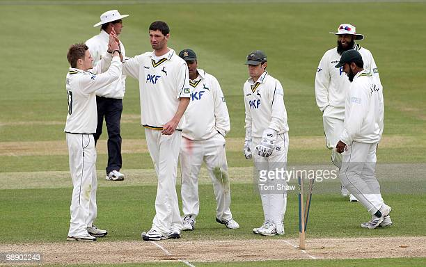 Charlie Shreck of Nottinghamshire celebrates taking the wicket of Kabir Ali of Hampshire during the LV County Championship match between Hampshire...