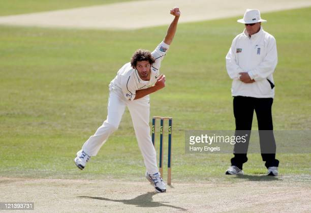 Charlie Shreck of Nottinghamshire in action during day three of the County Championship Division One match between Somerset and Nottinghamshire at...