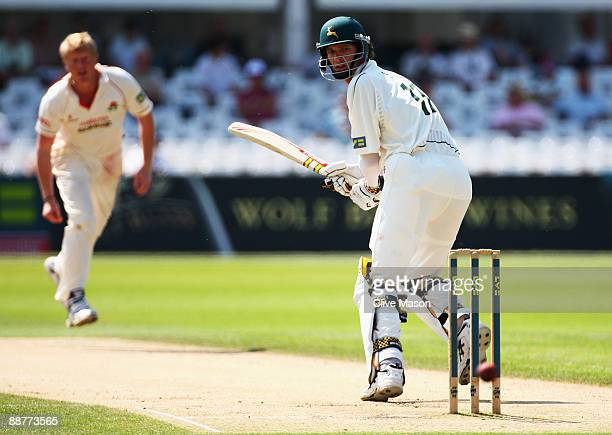 Charlie Shreck of Nottinghamshire in action during day two of the LV County Championship Division One match between Nottinghamshire and Lancashire at...
