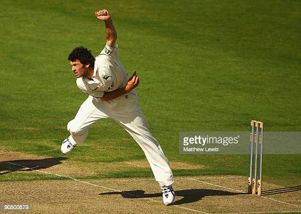 Charlie Shreck of Nottinghamshire in action during the LV County Championship Division One match between Durham and Nottinghamshire at The Riverside...