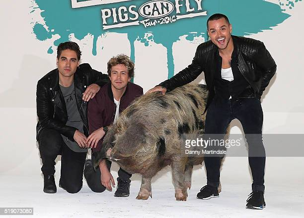 Charlie Simpson James Bourne and Matt Willis of Boy Band 'Busted' pose for a photograph at Holburn Studios as they announce their 'Pigs Can Fly'...
