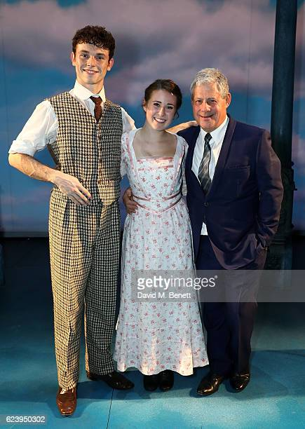 Charlie Stemp DevonElise Johnson and Cameron Mackintosh bow at the curtain call during the press night performance of Half A Sixpence at the Noel...