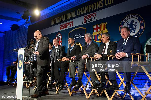 Charlie Stillitano Chairman of Relevent Sports address the crowd including legends Mauro Tassotti of AC Milan Emilio Butragueno of Real Madrid Youri...