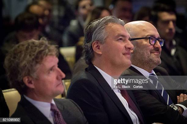 Charlie Stillitano Chairman of Relevent Sports watches the Press conference which including legends Mauro Tassotti of AC Milan Emilio Butragueno of...