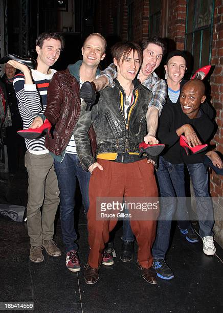 Charlie Sutton Joey Taranto Reeve Carney Kyle Post Kevin Smith Kirkwood and Paul Canaan pose backstage at the hit musical Kinky Boots on Broadway at...