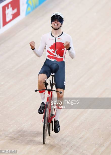 Charlie Tanfield of England celebrates winning gold in the Men's 4000m Individual Pursuit Gold Final during the Cycling on day two of the Gold Coast...