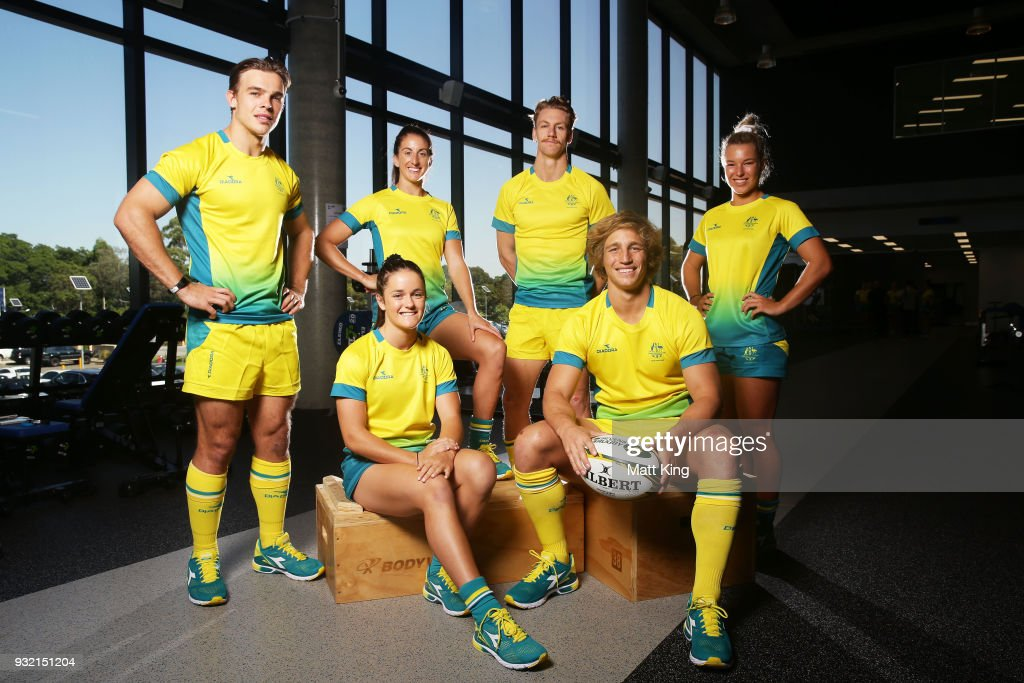Charlie Taylor, Dominique Du Toit, Alicia Quirk, Ben ODonnell, Jesse Parahi and Emma Tonegato of the Australian men and women's Sevens teams pose during the Australian Rugby Sevens Commonwealth Games Teams Announcement at the Rugby Australia building on March 15, 2018 in Sydney, Australia.