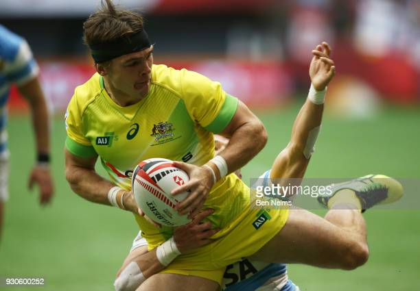 Charlie Taylor of Australia runs the ball against Uruguay during the Canada Sevens the Sixth round of the HSBC Sevens World Series at the BC Place...