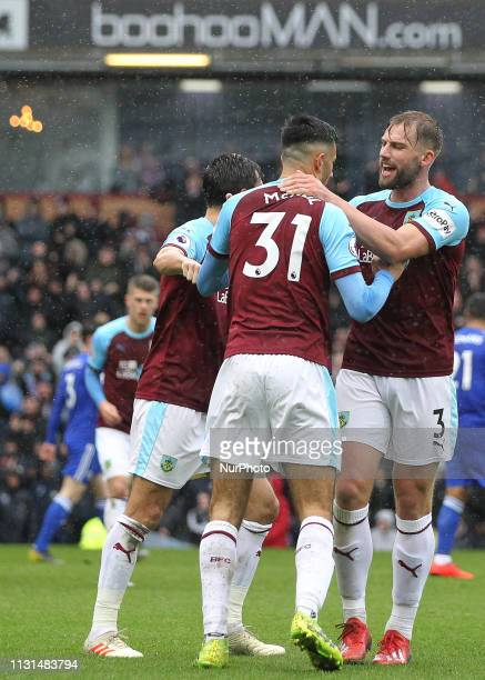 Charlie Taylor of Burnley congratulates Dwight McNeil after he put Burnley into a 10 lead during the Premier League match between Burnley and...