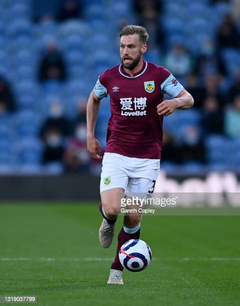 Charlie Taylor of Burnley during the Premier League match between Burnley and Liverpool at Turf Moor on May 19, 2021 in Burnley, England.