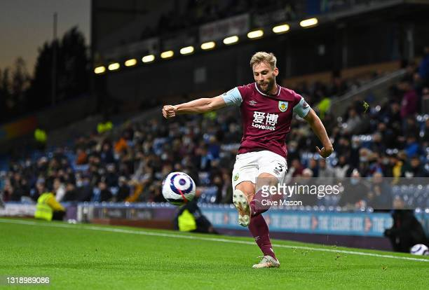 Charlie Taylor of Burnley in action during the Premier League match between Burnley and Liverpool at Turf Moor on May 19, 2021 in Burnley, England.