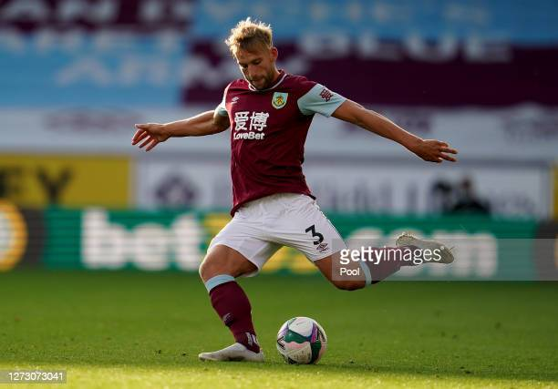 Charlie Taylor of Burnley kicks the ball during the Carabao Cup second round match between Burnley and Sheffield United at Turf Moor on September 17...