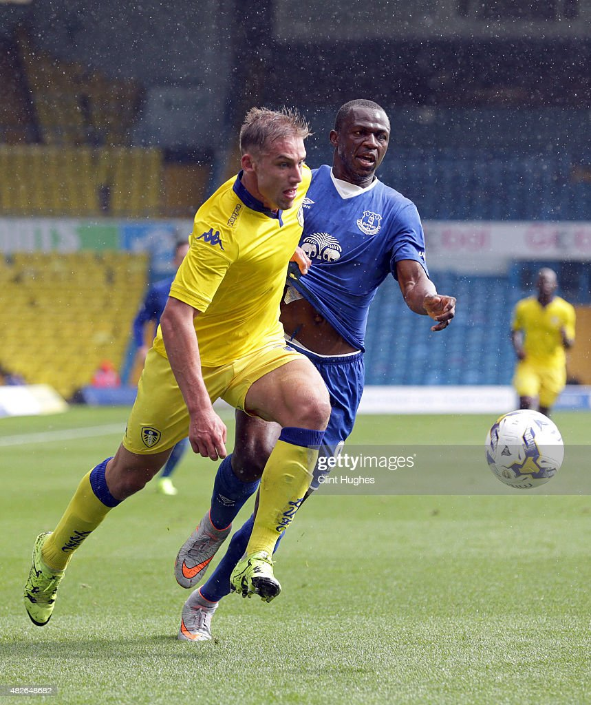 Charlie Taylor (L) of Leeds United and Arouna Kone of Everton battle for the ball during the Pre Season Friendly match between Leeds United and Everton at Elland Road on August 1, 2015 in Leeds, England.