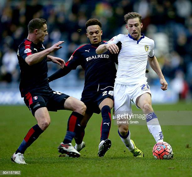 Charlie Taylor of Leeds United FC maintains control over Shay Facey of Rotherham United FC during The Emirates FA Cup Third Round match between Leeds...