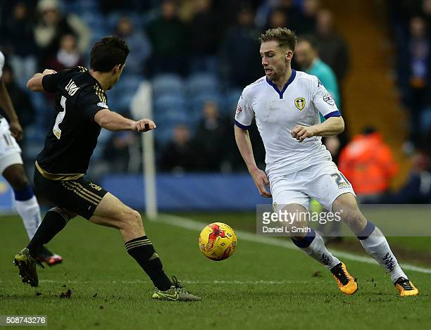 Charlie Taylor of Leeds United FC under pressure from Jamie Ward of Nottingham Forest FCduring the Sky Bet Championship match between Leeds United...