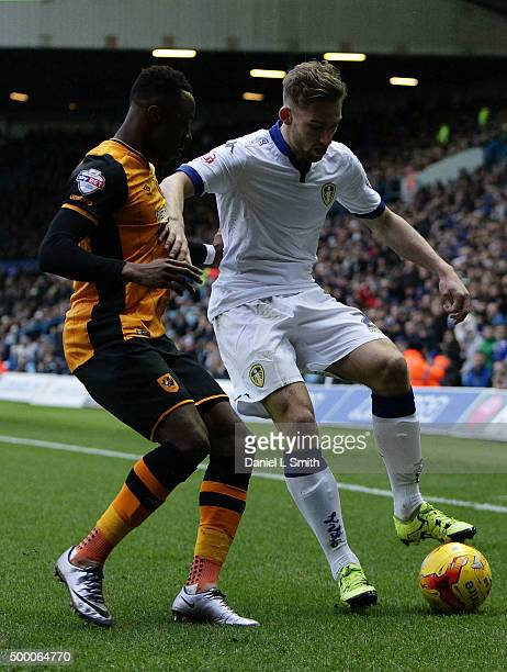 Charlie Taylor of Leeds United FC under pressure from Moses Odubajo of Hull City FC during the Sky Bet Championship League match between Leeds United...