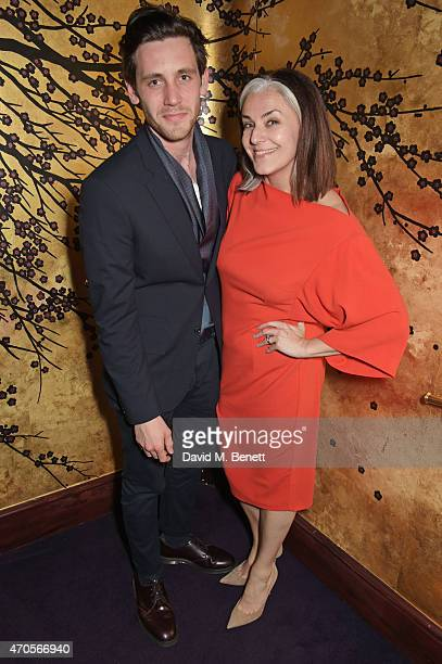 Charlie Teasdale and Catherine Hayward attend the DSQUARED2 dinner in celebration of their new London Flagship opening at Loulou's on April 21 2015...