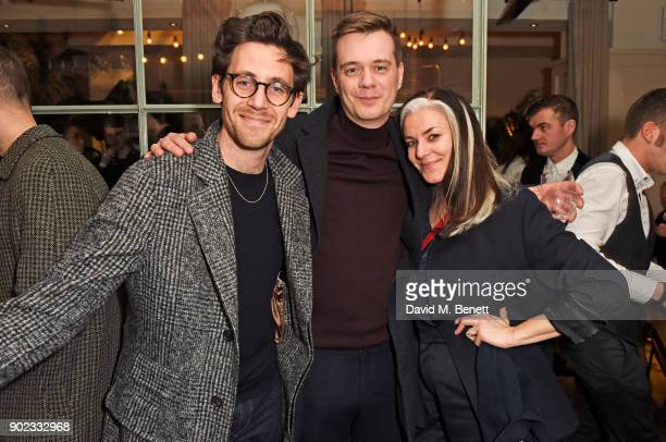 Charlie Teasdale guest and Catherine Hayward attend the Topman LFWM party at Mortimer House on January 7 2018 in London England