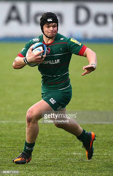 Charlie Thacker of Leicester during the Premiership Rugby/RFU U18 Academy Finals Day match between Leicester and Bath at The Allianz Park on February...