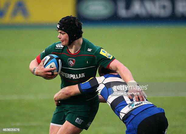 Charlie Thacker of Leicester looks to break through the tackle during the Premiership Rugby/RFU U18 Academy Finals Day match between Leicester Tigers...