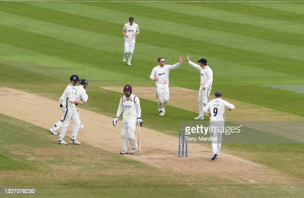 Charlie Thurston of Northamptonshire is caught out by Harry Duke of Yorkshire off the bowling of Dom Bess of Yorkshire during the LV= Insurance...