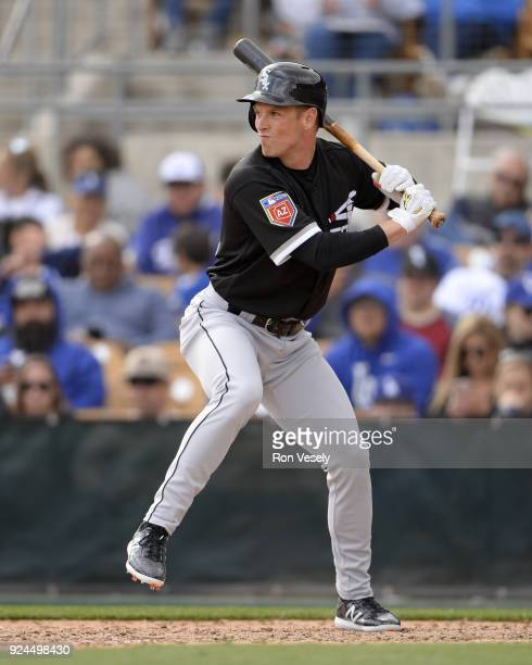 Charlie Tilson of the Chicago White Sox bats during the game against the Los Angeles Dodgers on February 23 2018 at Camelback Ranch in Glendale...
