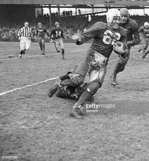 Charlie Trippi, Chicago Cardinals halfback skirts the end for six yards in the first quarter against the Washington Redskins on November 23rd. The...