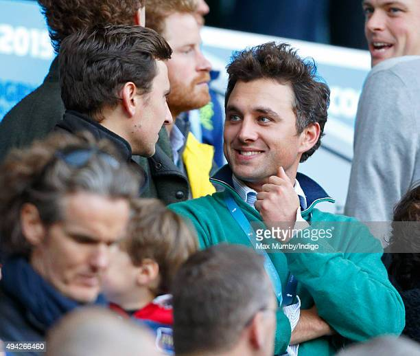 Charlie van Straubenzee and Thomas van Straubenzee attend the 2015 Rugby World Cup Semi Final match between Argentina and Australia at Twickenham...