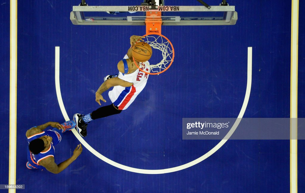 Charlie Villanueva of Detroit Pistons shoots a basket during the NBA London Live 2013 game between New York Knicks and the Detroit Pistons at the O2 Arena on January 17, 2013 in London, England.