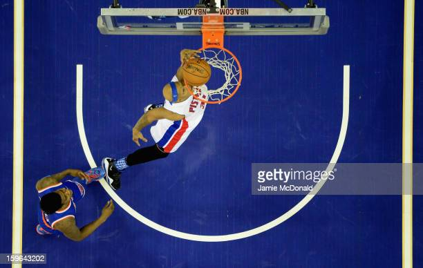 Charlie Villanueva of Detroit Pistons shoots a basket during the NBA London Live 2013 game between New York Knicks and the Detroit Pistons at the O2...