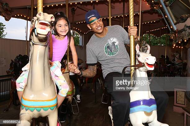 Charlie Villanueva of the Dallas Mavericks attends a season ticket holders fan appreciation event on April 6 2015 at Six Flags Over Texas in...