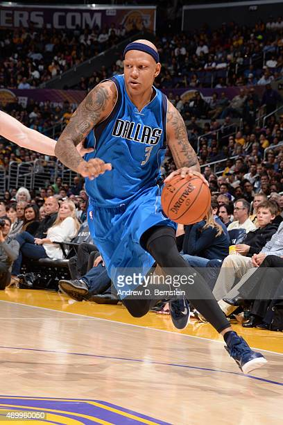 Charlie Villanueva of the Dallas Mavericks drives against the Los Angeles Lakers at STAPLES Center on April 12 2015 in Los Angeles California NOTE TO...