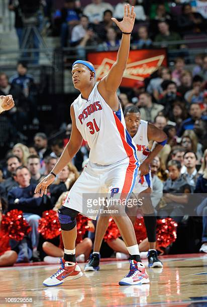 Charlie Villanueva of the Detroit Pistons calls for a pass during a game against the Charlotte Bobcats on November 5 2010 at The Palace of Auburn...