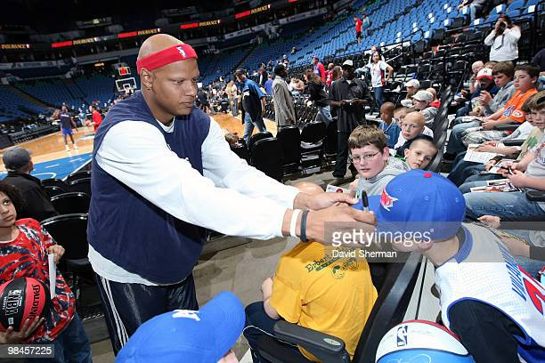 Charlie Villanueva of the Detroit Pistons meets with children with Alopecia and their families prior to the game against the Minnesota Timberwolves...