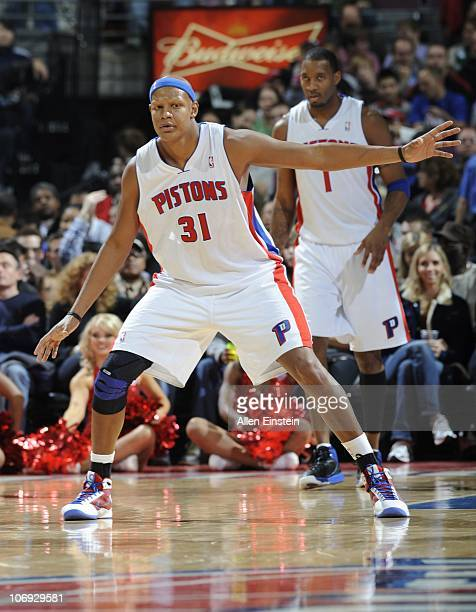 Charlie Villanueva of the Detroit Pistons stands on the court during a game against the Charlotte Bobcats on November 5 2010 at The Palace of Auburn...