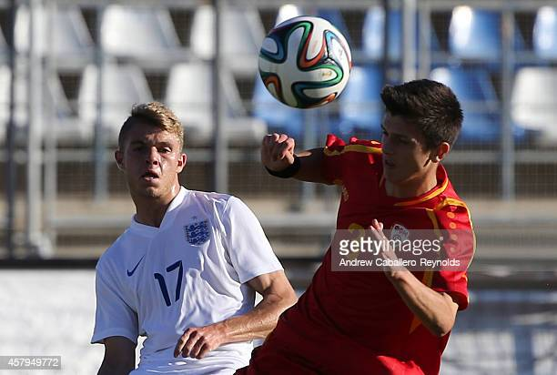 Charlie Wakefield from England and Filip Gichevski from Macedonia in action during the England v Macedonia UEFA U17 Qualifier match on October 27...