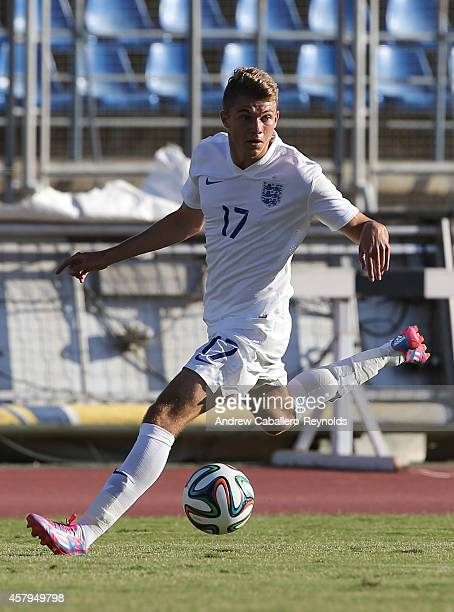 Charlie Wakefield from England in action during the England v Macedonia UEFA U17 Qualifier match on October 27 2014 in Paphos Cyprus