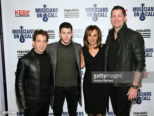 Charlie Walk, Nick Jonas, Rosanna Scotto and Pete Griffin attend Musicians On Call Celebrates Its 15th Anniversary Honoring Kelly Clarkson And EVP Of...