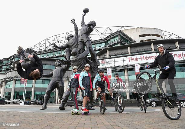 Charlie Walker Luke Wallace Joe Marchant and James Chisholm of Harlequins takes part in the Harlequins Big Game 9 EXTREME Sports Photo call at...