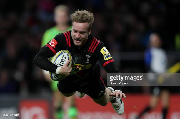 Charlie Walker of Harlequins scores his team's second try of the game during the Aviva Premiership Big Game 10 match between Harlequins and...