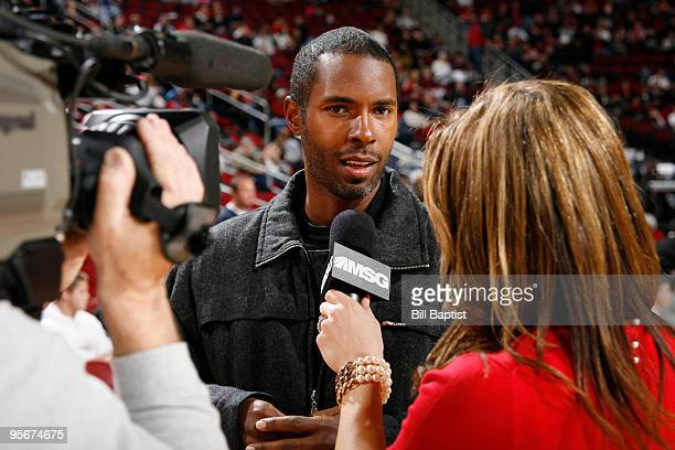 Charlie Ward former NBA and Houston Rockets player is interviewed during the game against the New York Knicks on January 9 2010 at the Toyota Center...