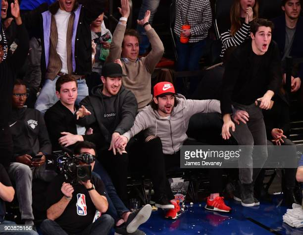 Charlie Ward Jimmy Vessey Kevin Hayes Mats Zuccarello and Brady Skjei attend the New York Knicks Vs Chicago Bulls game at Madison Square Garden on...