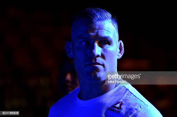 Charlie Ward of Ireland waits backstage during the UFC Fight Night weighin at the SSE Arena on November 18 2016 in Belfast Northern Ireland