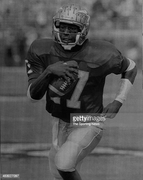 Charlie Ward of the Florida State Seminoles against Notre Dame on October 2 1993 at Notre Dame Stadium in South Bend Indiana Ward played for the...