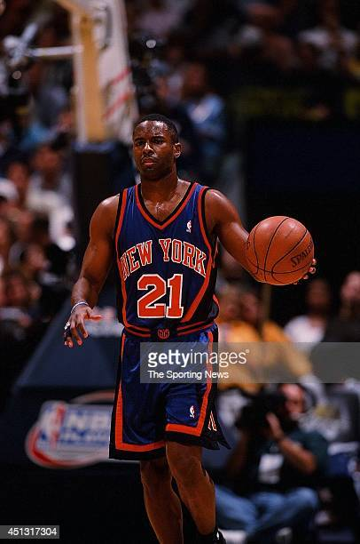 Charlie Ward of the New York Knicks brings the ball upcourt during the game against the Indiana Pacers in Game Two of the Eastern Conference Finals...