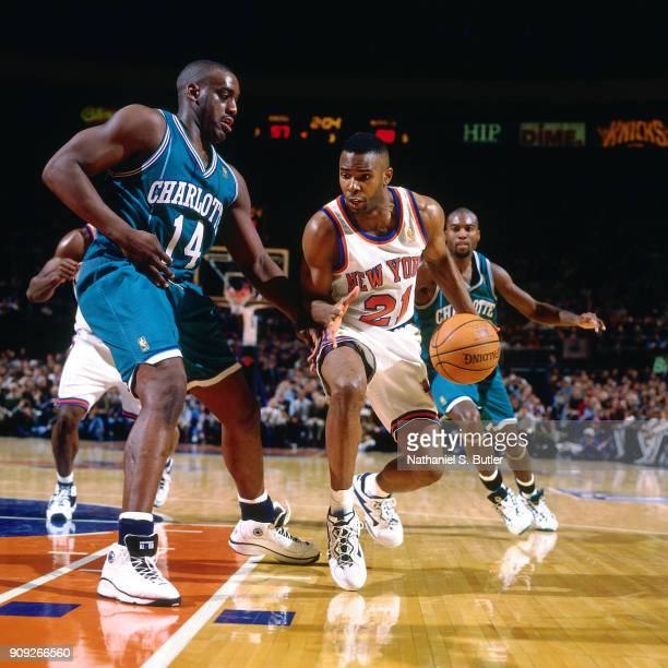 Charlie Ward of the New York Knicks dribbles during a game played on February 2 1997 at Madison Square Garden in New York City NOTE TO USER User...