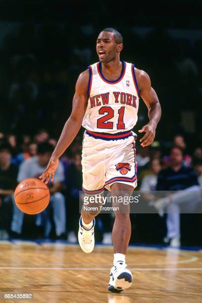 Charlie Ward of the New York Knicks drives against the Utah Jazz on October 22 1994 at Nassau Memorial Coliseum in Long Island New York NOTE TO USER...