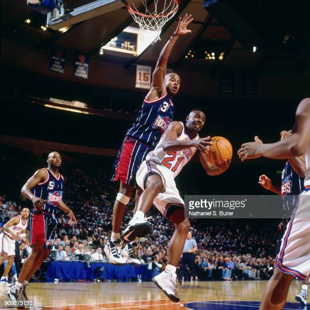 Charlie Ward of the New York Knicks drives during a game played on February 4 1997 at Madison Square Garden in New York City NOTE TO USER User...